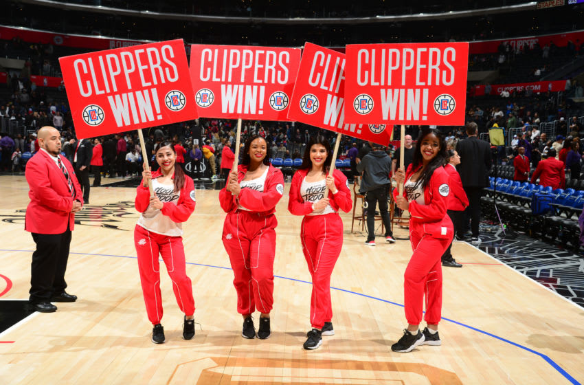 LOS ANGELES, CA - JANUARY 16: The LA Clippers Hoop Troop celebrates after the game against the Orlando Magic on January 16, 2020 at STAPLES Center in Los Angeles, California. NOTE TO USER: User expressly acknowledges and agrees that, by downloading and/or using this Photograph, user is consenting to the terms and conditions of the Getty Images License Agreement. Mandatory Copyright Notice: Copyright 2020 NBAE (Photo by Adam Pantozzi/NBAE via Getty Images)