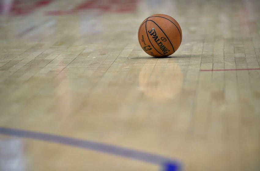 LOS ANGELES, CA - JANUARY 05: Basketball on the floor while the