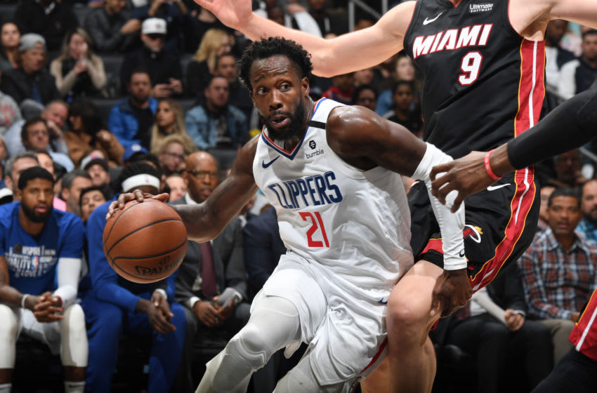 LOS ANGELES, CA - FEBRUARY 5: Patrick Beverley #21 of the LA Clippers handles the ball during the game against the Miami Heat on February 5, 2020 at STAPLES Center in Los Angeles, California. NOTE TO USER: User expressly acknowledges and agrees that, by downloading and/or using this Photograph, user is consenting to the terms and conditions of the Getty Images License Agreement. Mandatory Copyright Notice: Copyright 2020 NBAE (Photo by Andrew D. Bernstein/NBAE via Getty Images)
