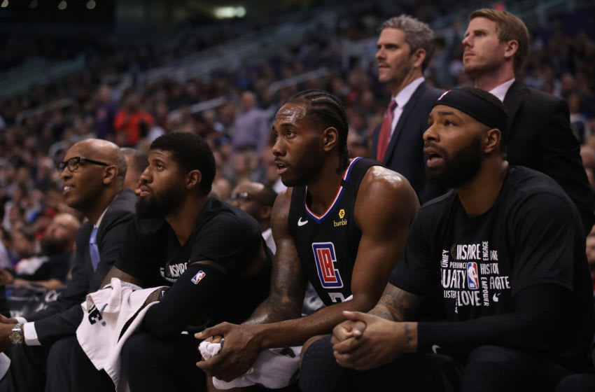 LA Clippers Paul George, Kawhi Leonard, Marcus Morris (Photo by Christian Petersen/Getty Images)
