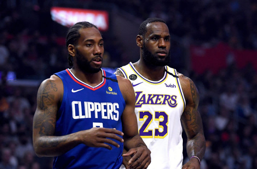 LA Clippers Kawhi Leonard versus LeBron James (Photo by Harry How/Getty Images)