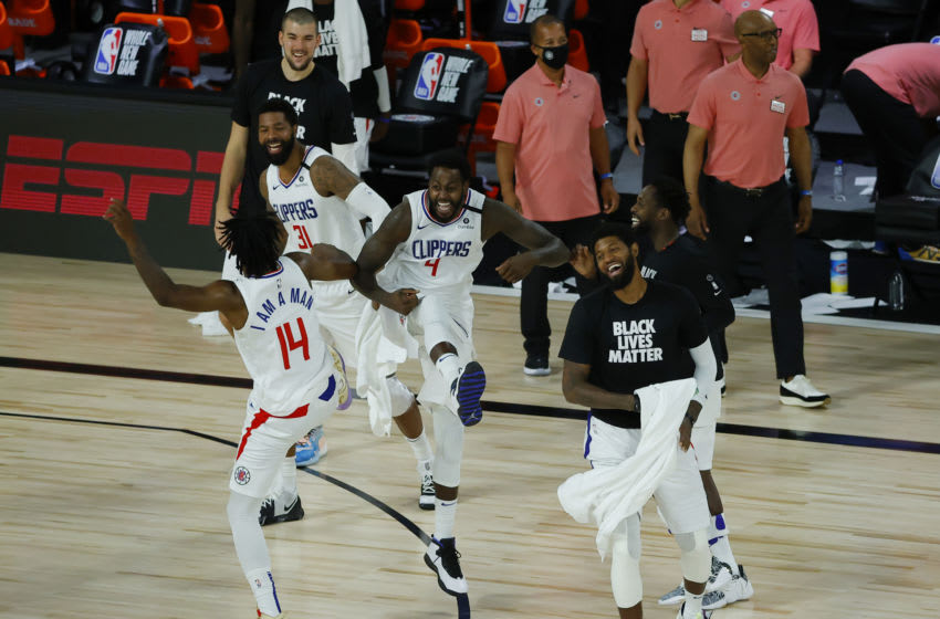 LA Clippers, Paul George, Terance Mann, JaMychal Green, Marcus Morris (Photo by Kevin C. Cox/Getty Images)