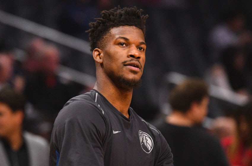 LOS ANGELES, CA - DECEMBER 06: Minnesota Timberwolves Guard Jimmy Butler (23) looks on before an NBA game between the Minnesota Timberwolves and the Los Angeles Clippers on December 6, 2017 at STAPLES Center in Los Angeles, CA. (Photo by Brian Rothmuller/Icon Sportswire via Getty Images)
