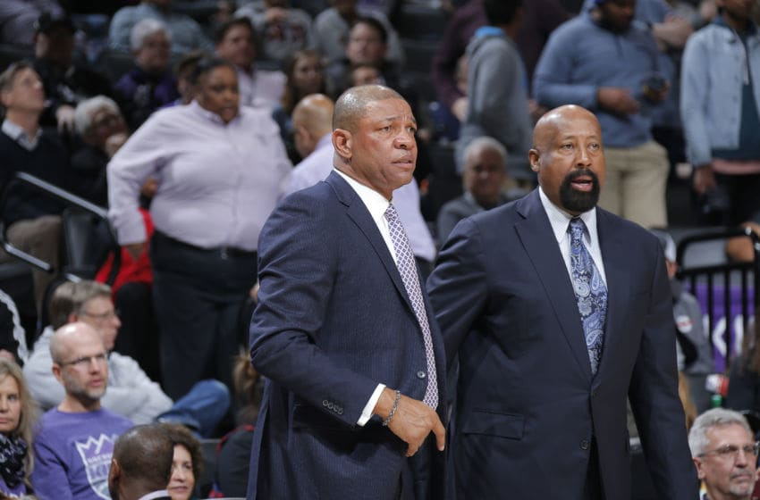SACRAMENTO, CA - JANUARY 11: Head Coach Doc Rivers and assistant coach Mike Woodson of the Los Angeles Clippers coache against the Sacramento Kings on January 11, 2018 at Golden 1 Center in Sacramento, California. NOTE TO USER: User expressly acknowledges and agrees that, by downloading and or using this photograph, User is consenting to the terms and conditions of the Getty Images Agreement. Mandatory Copyright Notice: Copyright 2018 NBAE (Photo by Rocky Widner/NBAE via Getty Images)