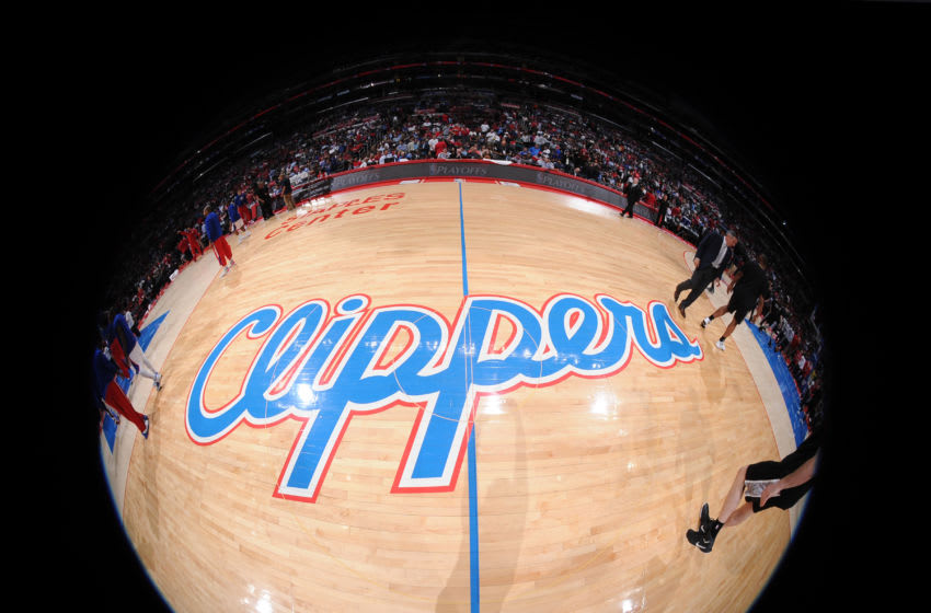 LOS ANGELES, CA - APRIL 28: The Los Angeles Clippers logo before a game against the San Antonio Spurs in Game Five of the Western Conference Quarterfinals during the 2015 NBA Playoffs on April 28, 2015 at Staples Center in Los Angeles, California. NOTE TO USER: User expressly acknowledges and agrees that, by downloading and or using this Photograph, user is consenting to the terms and conditions of the Getty Images License Agreement. Mandatory Copyright Notice: Copyright 2015 NBAE (Photo by Andrew D. Bernstein/NBAE via Getty Images)