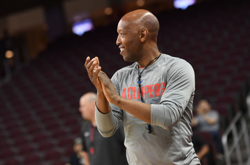 LOS ANGELES, CA - OCTOBER 10: Sam Cassell of the LA Clippers claps at an open practice at the Galen Center on the campus of the University of Southern California on October 10, 2017 in Los Angeles, California. NOTE TO USER: User expressly acknowledges and agrees that, by downloading and/or using this Photograph, user is consenting to the terms and conditions of the Getty Images License Agreement. Mandatory Copyright Notice: Copyright 2017 NBAE (Photo by Aaron Poole/NBAE via Getty Images)