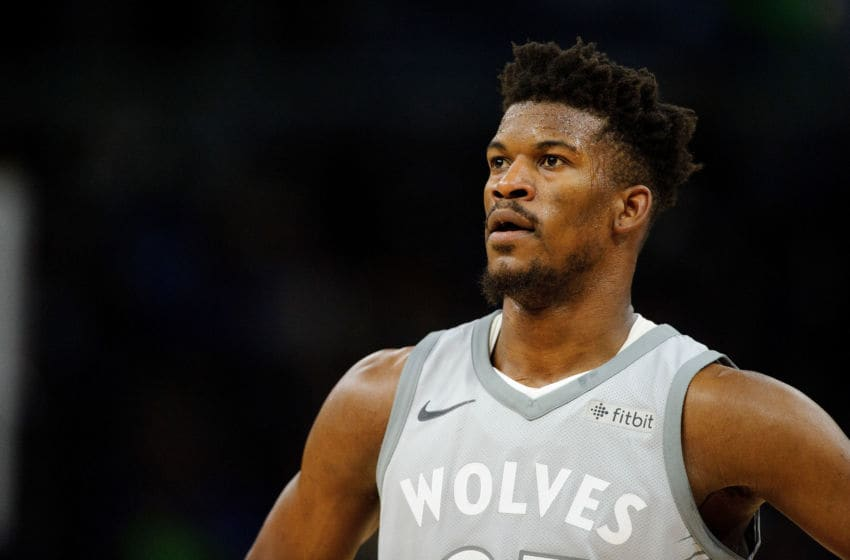 MINNEAPOLIS, MN - APRIL 11: Jimmy Butler #23 of the Minnesota Timberwolves looks on during the third quarter of the game against the Denver Nuggets on April 11, 2018 at the Target Center in Minneapolis, Minnesota. The Timberwolves defeated the Nuggets 112-106. NOTE TO USER: User expressly acknowledges and agrees that, by downloading and or using this Photograph, user is consenting to the terms and conditions of the Getty Images License Agreement. (Photo by Hannah Foslien/Getty Images)