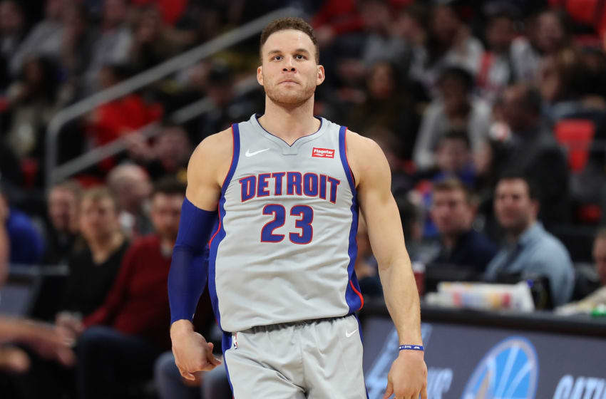 DETROIT, MI - FEBRUARY 9: Blake Griffin #23 of the Detroit Pistons looks to the sidelines during the third quarter of the game against the LA Clippers at Little Caesars Arena on February 9, 2018 in Detroit, Michigan. LA Clippers defeated Detroit Pistons 108-95. NOTE TO USER: User expressly acknowledges and agrees that, by downloading and or using this photograph, User is consenting to the terms and conditions of the Getty Images License Agreement (Photo by Leon Halip/Getty Images)