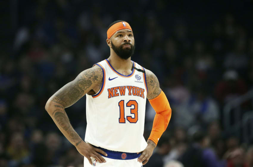 LOS ANGELES, CA - JANUARY 5: Marcus Morris #13 of the New York Knicks looks on against the LA Clippers on January 5, 2020 at STAPLES Center in Los Angeles, California. NOTE TO USER: User expressly acknowledges and agrees that, by downloading and/or using this Photograph, user is consenting to the terms and conditions of the Getty Images License Agreement. Mandatory Copyright Notice: Copyright 2020 NBAE (Photo by Chris Elise/NBAE via Getty Images)