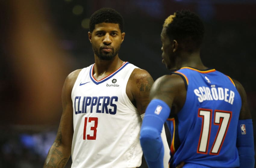 LOS ANGELES, CALIFORNIA - NOVEMBER 18: Paul George #13 of the Los Angeles Clippers looks on during the second half of a game against the Oklahoma City Thunder at Staples Center on November 18, 2019 in Los Angeles, California. NOTE TO USER: User expressly acknowledges and agrees that, by downloading and or using this photograph, User is consenting to the terms and conditions of the Getty Images License Agreement. (Photo by Katharine Lotze/Getty Images)