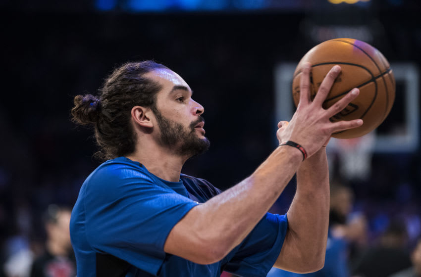NEW YORK, NY - NOVEMBER 27: Joakim Noah #13 of the New York Knicks warms up before the game against the Portland Trail Blazers at Madison Square Garden on November 27, 2017 in New York City. NOTE TO USER: User expressly acknowledges and agrees that, by downloading and or using this Photograph, user is consenting to the terms and conditions of the Getty Images License Agreement (Photo by Matteo Marchi/Getty Images)
