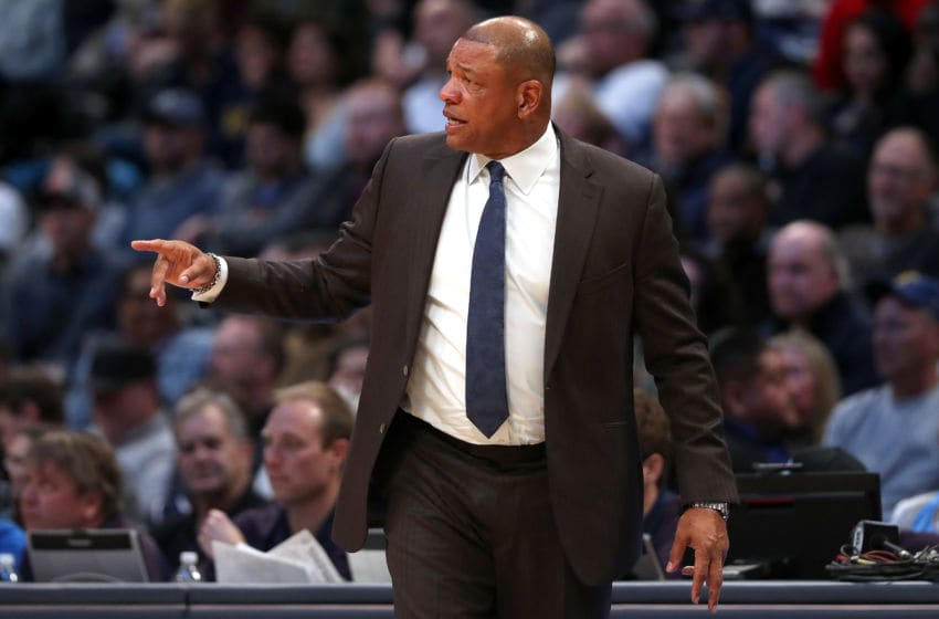 DENVER, COLORADO - JANUARY 12: Head coach Doc Rivers of the Los Angeles Clippers works the sidelines against the Denver Nuggets in the first quarter at the Pepsi Center on January 12, 2020 in Denver, Colorado. NOTE TO USER: User expressly acknowledges and agrees that, by downloading and or using this photograph, User is consenting to the terms and conditions of the Getty Images License Agreement. (Photo by Matthew Stockman/Getty Images)