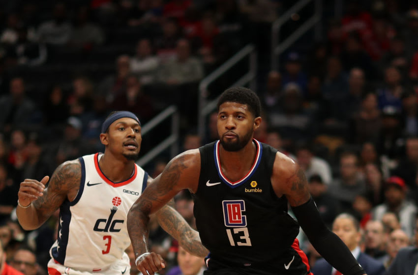 WASHINGTON, DC - DECEMBER 08: Paul George #13 of the Los Angeles Clippers in action against the Washington Wizards at Capital One Arena on December 8, 2019 in Washington, DC. NOTE TO USER: User expressly acknowledges and agrees that, by downloading and or using this photograph, User is consenting to the terms and conditions of the Getty Images License Agreement. (Photo by Patrick Smith/Getty Images)