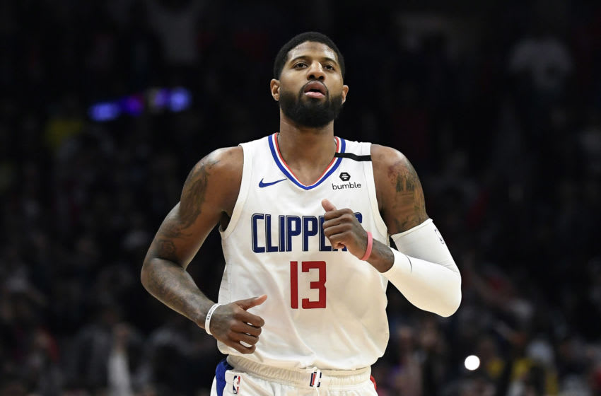 LOS ANGELES, CA - FEBRUARY 03: Paul George #13 of the Los Angeles Clippers reacts after scoring against the San Antonio Spurs at the end of the game at Staples Center on February 3, 2020 in Los Angeles, California. NOTE TO USER: User expressly acknowledges and agrees that, by downloading and/or using this Photograph, user is consenting to the terms and conditions of the Getty Images License Agreement. (Photo by Kevork Djansezian/Getty Images)