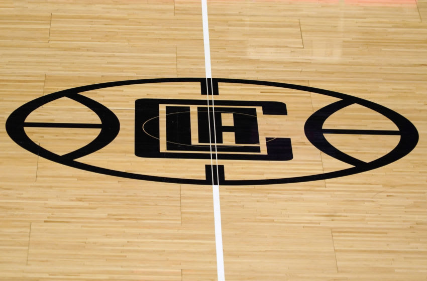 Feb 15, 2021; Los Angeles, California, USA; A detailed view of the LA Clippers logo at center court at Staples Center. Mandatory Credit: Kirby Lee-USA TODAY Sports