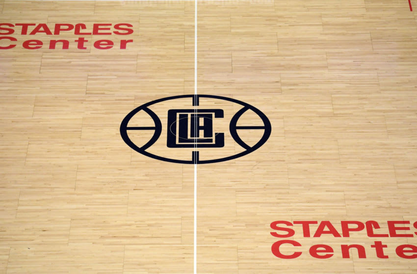Nov 16, 2019; Los Angeles, CA, USA; General overall view of the LA Clippers logo at center court at Staples Center. Mandatory Credit: Kirby Lee-USA TODAY Sports