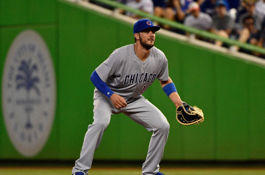 MIAMI, FL - JUNE 24: Kris Bryant #17 of the Chicago Cubs playing first base for the first time this season during the game between the Miami Marlins and the Chicago Cubs at Marlins Park on June 24, 2017 in Miami, Florida. (Photo by Mark Brown/Getty Images)