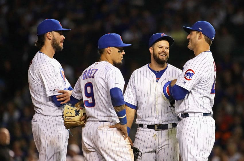 Kris Bryant, Javier Baez, David Bote, Anthony Rizzo, Chicago Cubs (Photo by Jonathan Daniel/Getty Images)