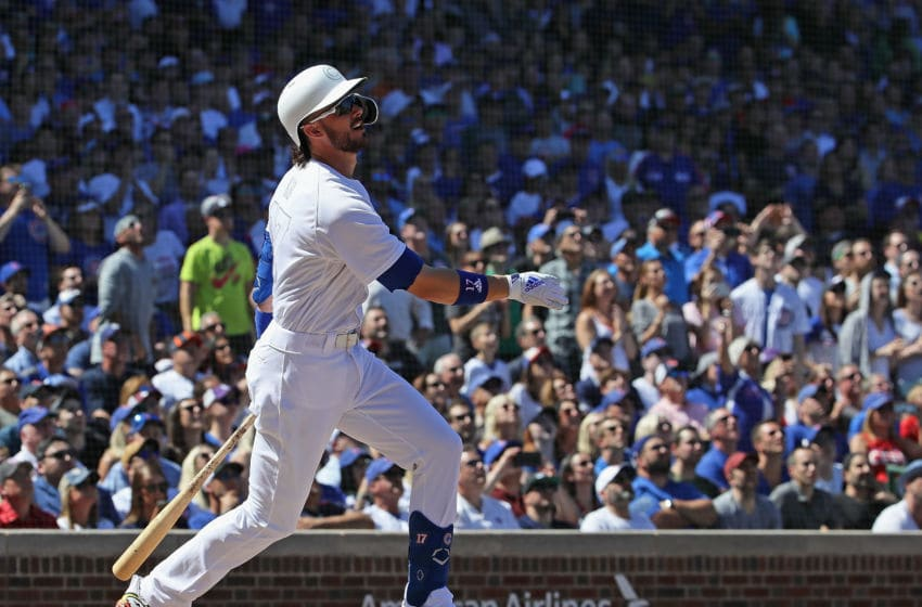 CHICAGO, ILLINOIS - AUGUST 24: Kris Bryant #17 of the Chicago Cubs bats against the Washington Nationals at Wrigley Field on August 24, 2019 in Chicago, Illinois. (Photo by Jonathan Daniel/Getty Images)