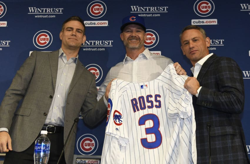 David Ross, Theo Epstein, Jed Hoyer / Chicago Cubs (Photo by David Banks/Getty Images)