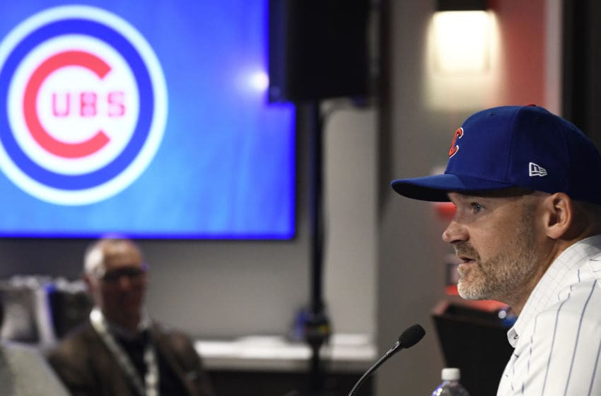 CHICAGO, ILLINOIS - OCTOBER 28: David Ross, new manager of the Chicago Cubs, talks to the media during a press conference at Wrigley Field on October 28, 2019 in Chicago, Illinois. (Photo by David Banks/Getty Images)