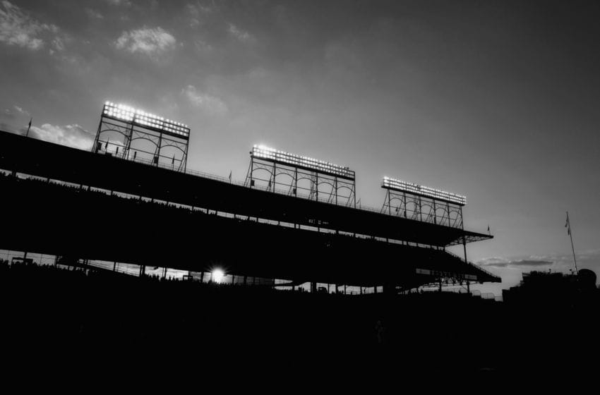 CHICAGO, IL - JUNE 28: (EDITORS NOTE: Image has been converted to black and white) General view of the stadium light banks during game two of a doubleheader between the San Francisco Giants and Chicago Cubs on June 28, 2011 at Wrigley Field in Chicago, Illinois. The Giants won 6-3. (Photo by Joe Robbins/Getty Images)