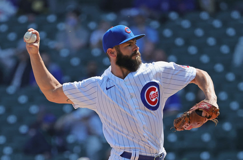 CHICAGO, ILLINOIS - APRIL 03: Starting pitcher Jake Arrieta #49 of the Chicago Cubs delivers the ball against the Pittsburgh Pirates at Wrigley Field on April 03, 2021 in Chicago, Illinois. (Photo by Jonathan Daniel/Getty Images)
