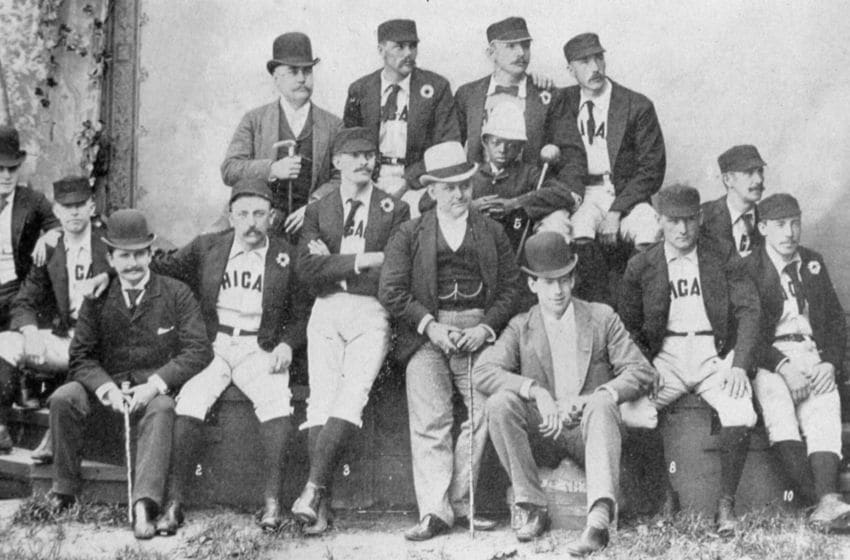 CHICAGO - 1888. The Chicago White Stockings team selected to barnstorm around the world pose together in Chicago before departure in 1888. (Photo by Mark Rucker/Transcendental Graphics, Getty Images)