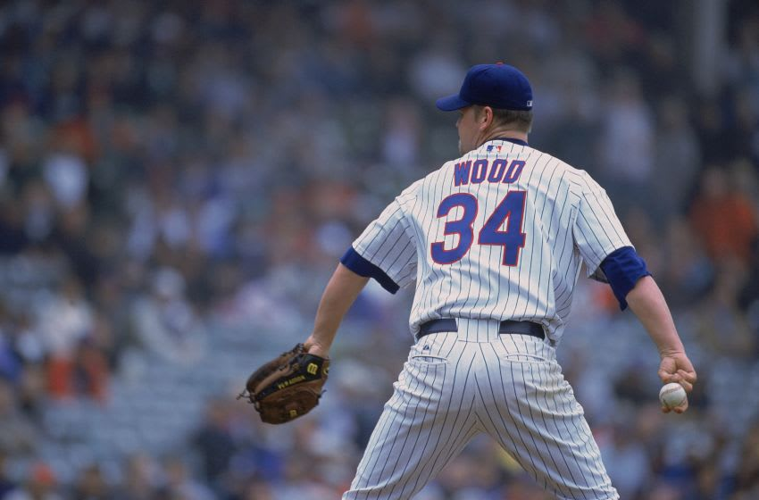 6 Jun 2001: Kerry Wood #34 of the Chicago Cubs pulls back to pitch during the game against the St. Louis Cardinals at Wrigley Field in Chicago, Illinois. The Cubs defeated the Cardinals 4-1.Mandatory Credit: Jonathan Daniel /Allsport
