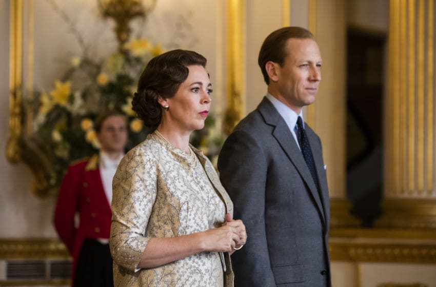 Photo: Olivia Colman and Tobia Menzies in The Crown: Season 3.. Image Courtesy Sophie Mutevelian/Netflix