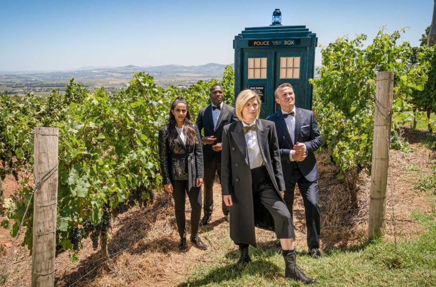 Mandip Gill as Yasmin Khan, Tosin Cole as Ryan Sinclair, Jodie Whittaker as The Doctor, Bradley Walsh as Graham O'Brien- Doctor Who _ Season 12 - Photo Credit: Ben Blackall/BBCAmerica/BBCStudios