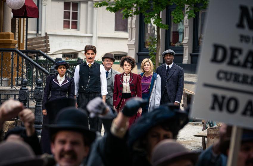 Mandip Gill as Yaz, Goran Visnijic as Nikola Tesla, Bradley Walsh as Graham, Haley McGee as Dorothy Skerrit, Jodie Whittaker as The Doctor, Tosin Cole as Ryan - Doctor Who _ Season 12, Episode 4 - Photo Credit: Ben Blackall/BBC Studios/BBC America
