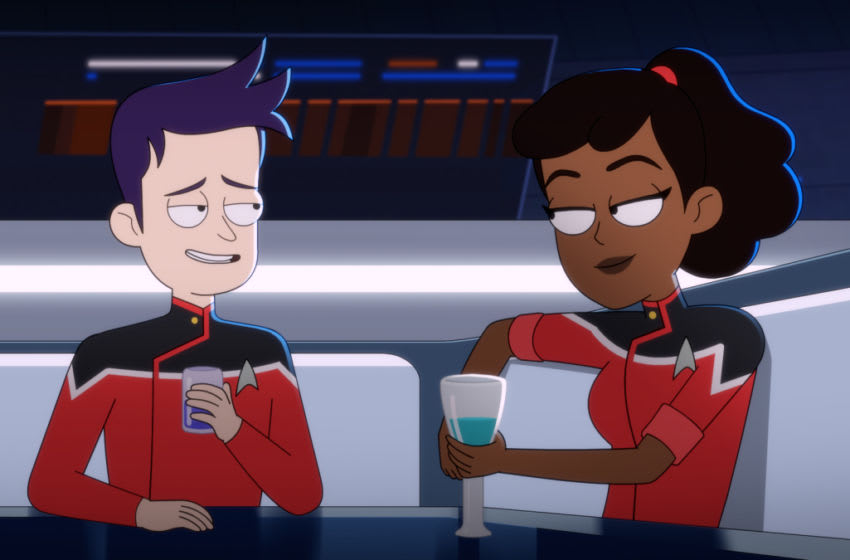 Pictured: Jack Quaid as Ensign Brad Boimler and Tawny Newsome as Ensign Beckett Mariner of the CBS All Access series STAR TREK: LOWER DECKS. Photo Cr: Best Possible Screen Grab CBS 2020 CBS Interactive, Inc. All Rights Reserved.