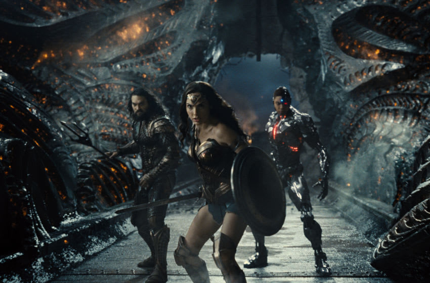 Jason Momoa (Aquaman / Arthur Curry), Gal Gadot (Diana Prince / Wonder Woman), Ray Fisher (Cyborg / Victor Stone) in Zack Snyder's Justice League. Photograph by Courtesy of HBO Max