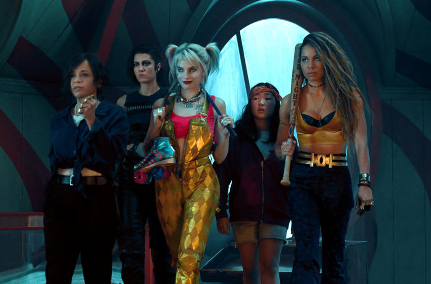 """(L-r) ROSIE PEREZ as Renee Montoya, MARY ELIZABETH WINSTEAD as Huntress, MARGOT ROBBIE as Harley Quinn, ELLA JAY BASCO as Cassandra Cain and JURNEE SMOLLETT-BELL as Black Canary in Warner Bros. Pictures' """"BIRDS OF PREY (AND THE FANTABULOUS EMANCIPATION OF ONE HARLEY QUINN),"""" a Warner Bros. Pictures release."""