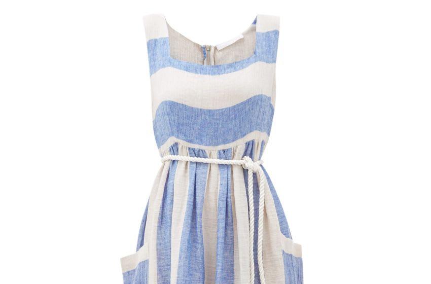Photo: Love Binetti Sunny striped linen midi dres.. Image Courtesy Love Binetti