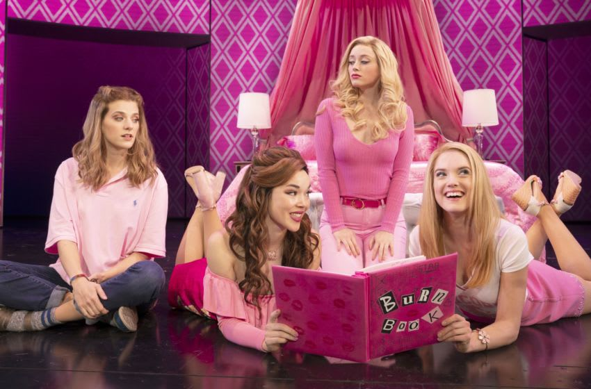 Mean Girls Tour Book by Tina Fey, Music by Jeff Richmond, Lyrics by Nell Benjamin, Directed and Choreographed by Casey Nichola.. Pictured (L-R): Danielle Wade (Cady Heron), Megan Masako Haley (Gretchen Wieners), Mariah Rose Faith (Regina George), and Jonalyn Saxer (Karen Smith) in the National Touring Company of Mean Girls Credit: © 2019 Joan Marcus