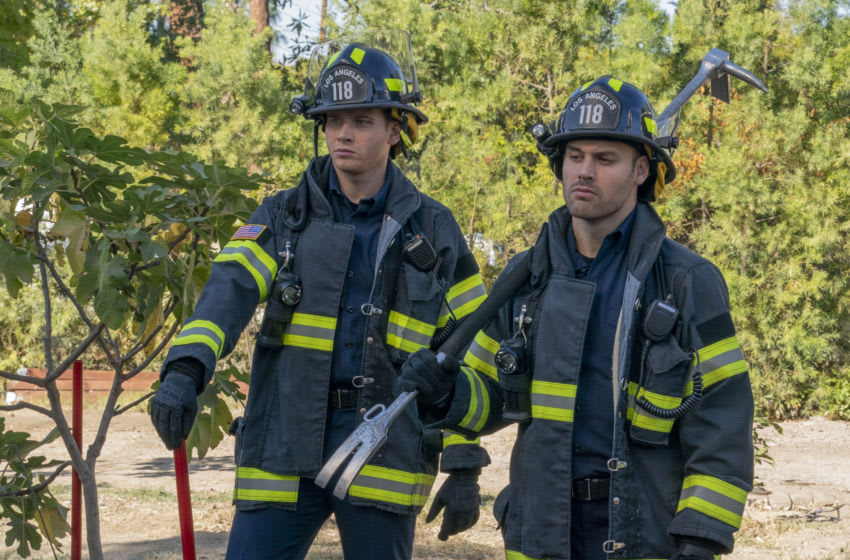 """9-1-1: L-R: Oliver Stark and Ryan Guzman in the """"Seize The Day"""" spring premiere episode of 9-1-1 airing Sunday, March 16 (8:00-9:00 PM ET/PT) on FOX. CR: Jack Zeman / FOX. © 2020 FOX MEDIA LLC."""