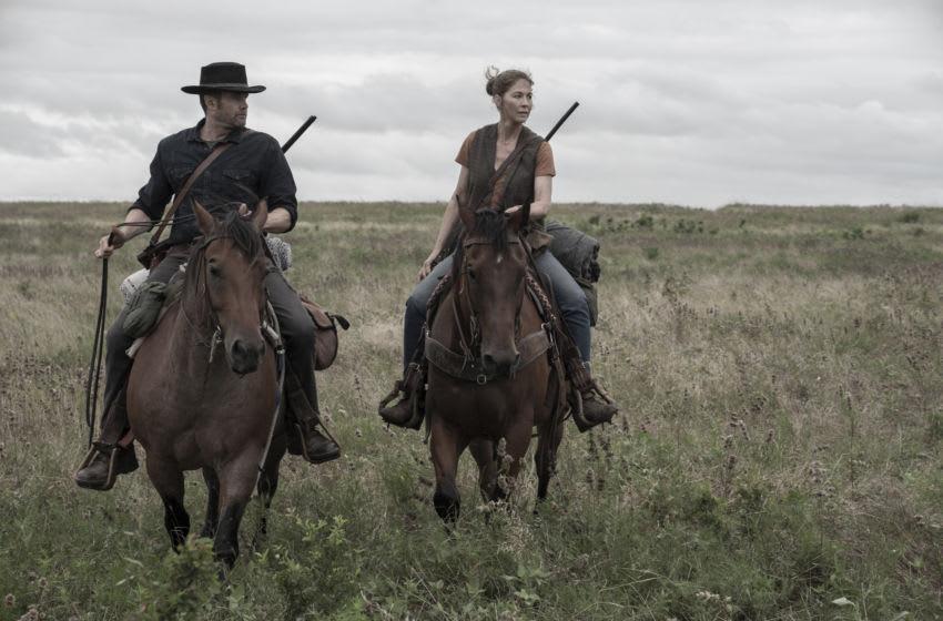Garret Dillahunt as John Dorie, Jenna Elfman as June - Fear the Walking Dead _ Season 5, Episode 16 - Photo Credit: Van Redin/AMC