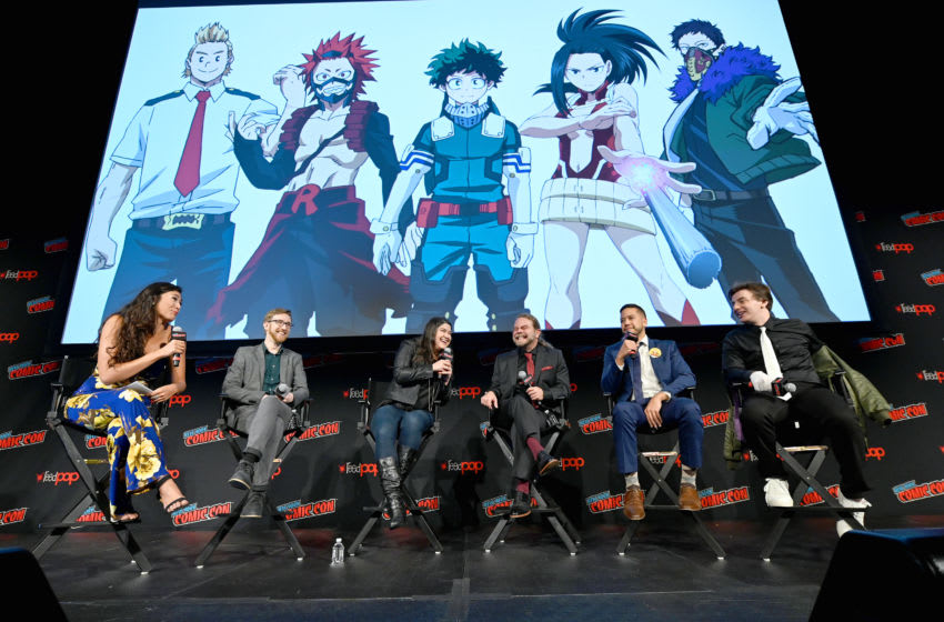 NEW YORK, NEW YORK - OCTOBER 04: Chastity Vicencio, Justin Briner, Colleen Clinkenbeard, Justin Cook, Ricco Fajardo, and Kellen Goff speak onstage during the Funimation Presents: My Hero Academia Panel at New York Comic Con 2019 - Day 2 at Hulu Theater at Madison Square Garden on October 04, 2019 in New York City. (Photo by Ilya S. Savenok/Getty Images for ReedPOP )