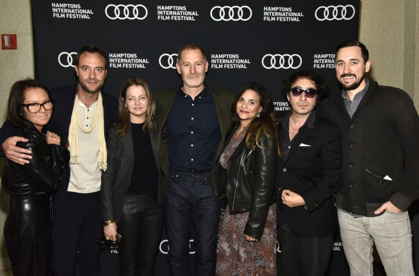 "EAST HAMPTON, NEW YORK - OCTOBER 11: Alina Cho, Aengus James, Jennifer Ash Rudick, Mark Landsman, Nicco Ardin, Michael Pessah and Colin King Miller attend ""Scandalous: The True Story of the National Enquirer"" World Premiere Screening during the 2019 Hamptons International Film Festival on October 11, 2019 in East Hampton, New York. (Photo by Eugene Gologursky/Getty Images for Hamptons International Film Festival)"