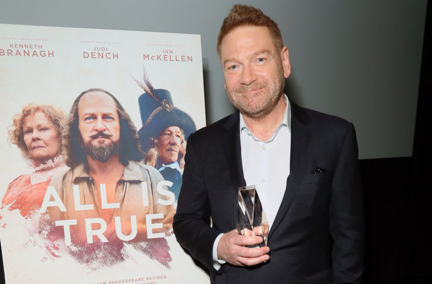 LOS ANGELES, CALIFORNIA - MAY 08: Kenneth Branagh accepts the Crystal Quill Award from The Shakespeare Center of Los Angeles during Special Screening Of Kenneth Branagh's