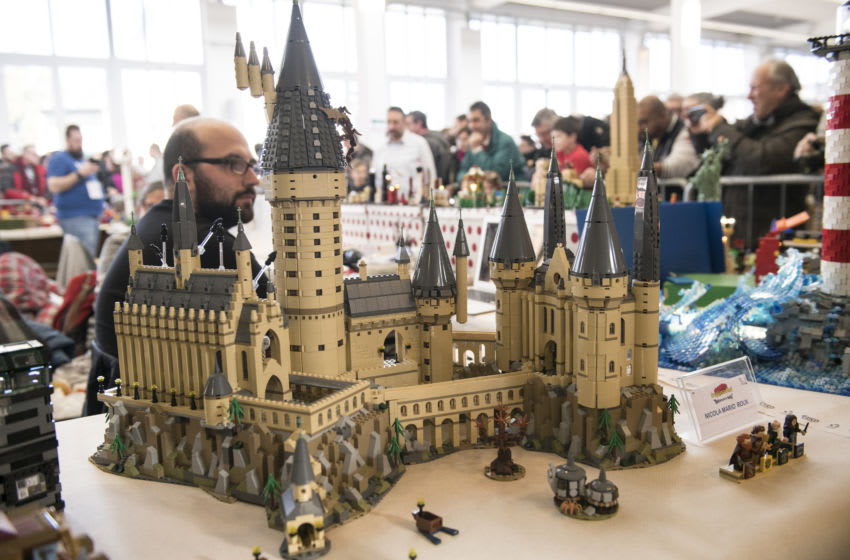 TURIN, ITALY - JANUARY 12: LEGO reproduction of the Hogwart Castle from the Harry Potter series during