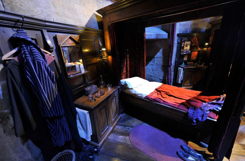 WATFORD, ENGLAND - MARCH 30: A general view inside Gryffindor Boy's Dormintory on the set of Harry Potter at the Warner Bros. Studio Tour London - The Making of Harry Potter, at Leavesden Studios on March 30, 2012 in Watford, England (Photo by Gareth Cattermole/Getty Images)