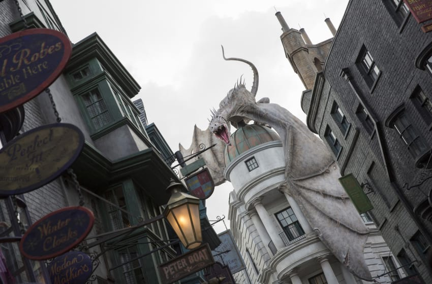 ORLANDO, FL - JUNE 18: In this handout photo provided by Universal Orlando Resort and taken June 13, 2014, today June 18, Universal Orlando announced that The Wizarding World of Harry Potters Diagon Alley will officially open on July 8, allowing guests to experience even more of Harry Potters adventures in an all-new, magnificently-themed environment. Located in the Universal Studios Florida theme park, The Wizarding World of Harry Potter - Diagon Alley will feature shops, dining experiences and the next generation thrill ride, Harry Potter and the Escape from Gringotts. The new immersive area will double the size of the sweeping land already found at Universals Islands of Adventure, expanding the spectacularly themed environment across both Universal theme parks and guests can journey between both lands aboard the Hogwarts Express. For additional information, visit www.UniversalOrlando.com/WizardingWorld. (Photo by Sheri Lowen/Universal Orlando Resort via Getty Images)