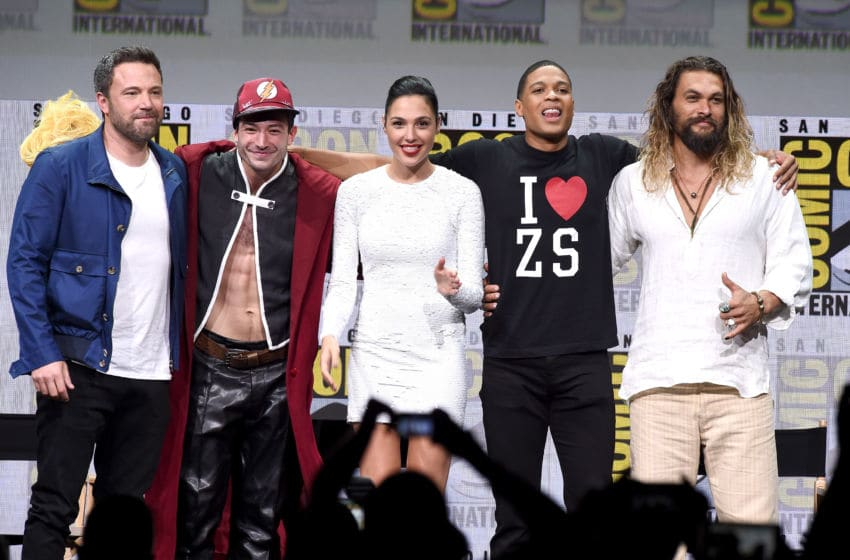 SAN DIEGO, CA - JULY 22: (L-R) Actors Ben Affleck, Ezra Miller, Gal Gadot, Ray Fisher, and Jason Momoa from 'Justice League' attend the Warner Bros. Pictures Presentation during Comic-Con International 2017 at San Diego Convention Center on July 22, 2017 in San Diego, California. (Photo by Kevin Winter/Getty Images)