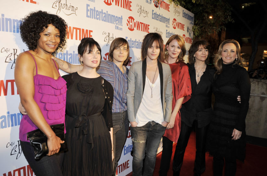 WEST HOLLYWOOD, CA - MARCH 03: (L to R) Actors Rose Rollins, Mia Kirshner, Daniela Sea, Katherine Moennig, Laurel Holloman, writer/director Ilene Chaiken and actress Marlee Matlin pose at Showtime's farewell party for 'The L Word' at Cafe La Boheme on March 3, 2009 in West Hollywood, California. (Photo by Kevin Winter/Getty Images)