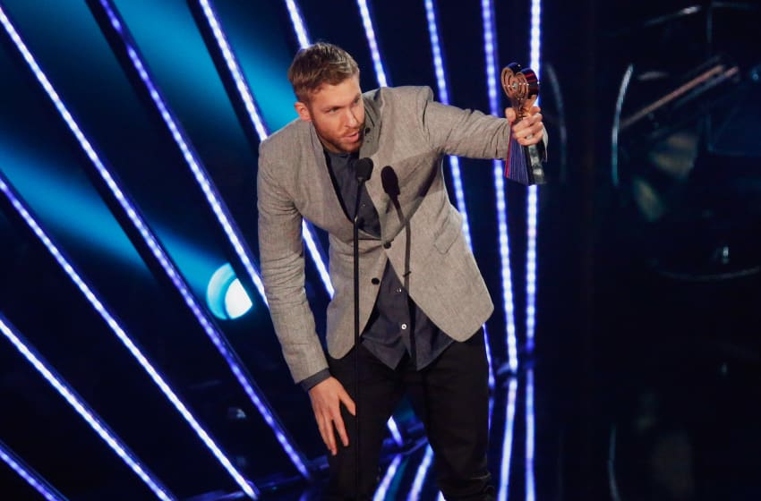 INGLEWOOD, CALIFORNIA - APRIL 03: Recording artist Calvin Harris accepts the award for 'Dance Artist of the Year,' onstage during the iHeartRadio Music Awards at The Forum on April 3, 2016 in Inglewood, California. (Photo by Rich Polk/Getty Images for iHeartRadio / Turner)