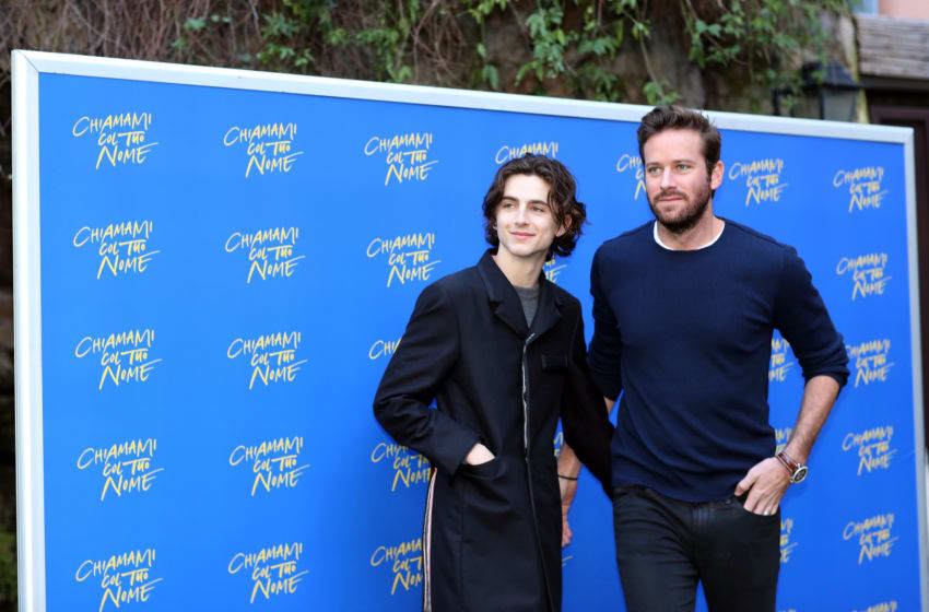 ROME, ITALY - JANUARY 24: Actors Timothee Chalamet (L), and Armie Hammer attend 'Chiamami Col Tuo Nome (Call Me By Your Name)' at De Russie Hotel on January 24, 2018 in Rome, Italy. (Photo by Contigo/Getty Images)