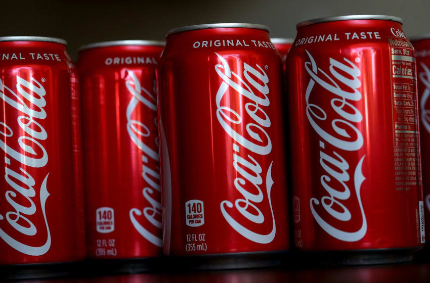 Cans of Coca Cola are displayed on July 25, 2018 in San Rafael, California. (Photo by Justin Sullivan/Getty Images)